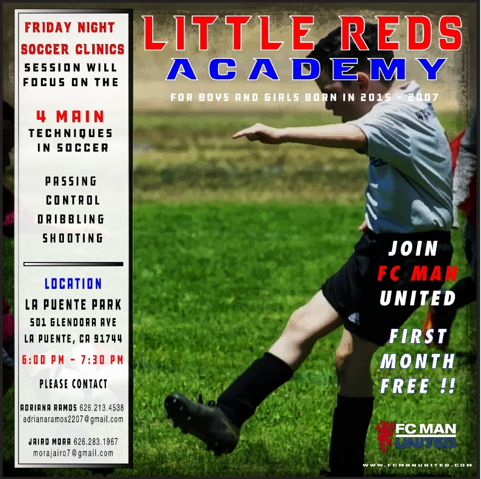 Little Reds Academy Starts July 12th La Puente Park 6:00 - 7:30 PM - 501 Glendora Ave La Puente